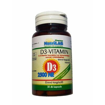 NutriLAB D3 2500 NE Vitamin vega kapszula 30X